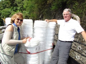 Penny and David ready to distribute water filters in San Jorge, Solola.