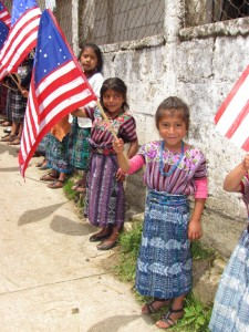Children waving flags.
