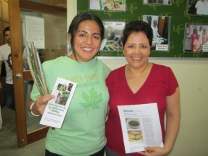 Adriana Sanchez holding Chaya cuttings with Lucia Castellanos from University del Valle in Guatemala.